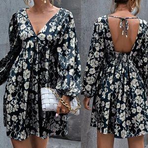 Boho floral print tie back smock dress